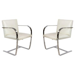 Set of 4 Mid-Century Chrome and White Leather Armchairs
