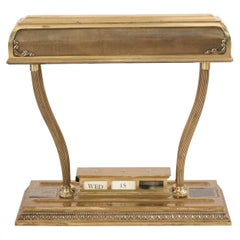 American Victorian Style Brass Desk Lamp and Calendar