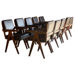 Pierre Jeanneret Model PJ-010803 Armchairs Set of Ten Chandigarh Circa 1965-66