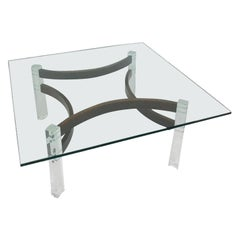 Mid-Century Modern Lucite and Bentwood Cocktail Table