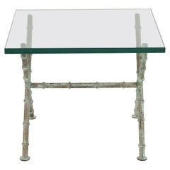 Patinated Faux Bamboo and Glass Rectangular Coffee Table 'Manner of Alberto Giac