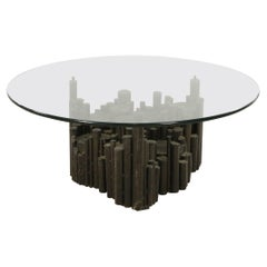 Brutalist Glass and Metal Rod Coffee Table 'Manner of Paul Evans'