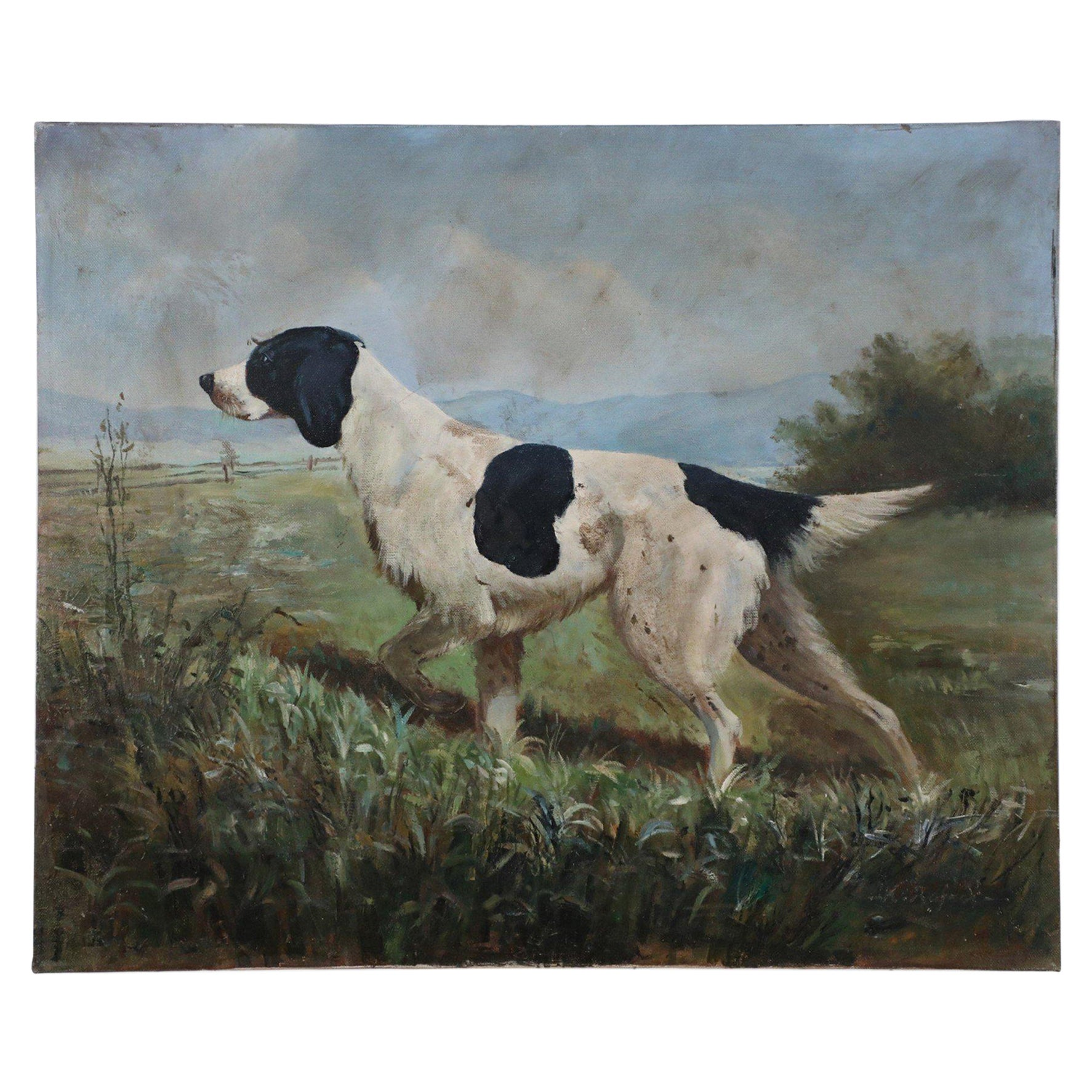 Vintage Black and White Hunting Dog Oil Painting on Canvas