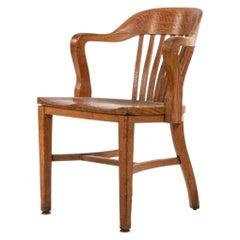 American Victorian Slat Back Oak Armchair