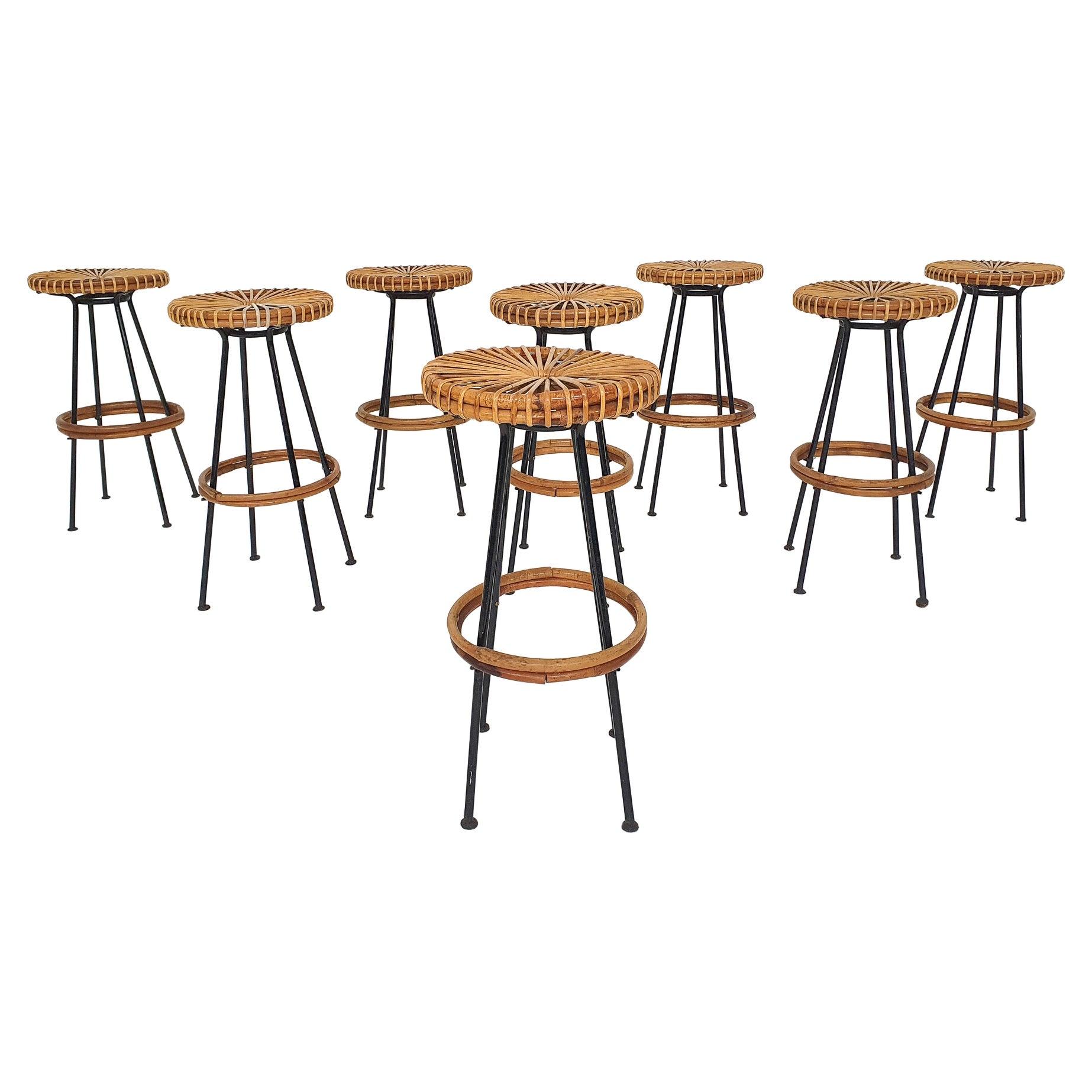 Set of 8 Rohe Noordwolde Rattan Bar Stools, the Netherlands, 1950's