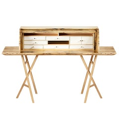 21st Century Charles 10 Desk, White Ebony, White Maple and Brass, Made in Italy