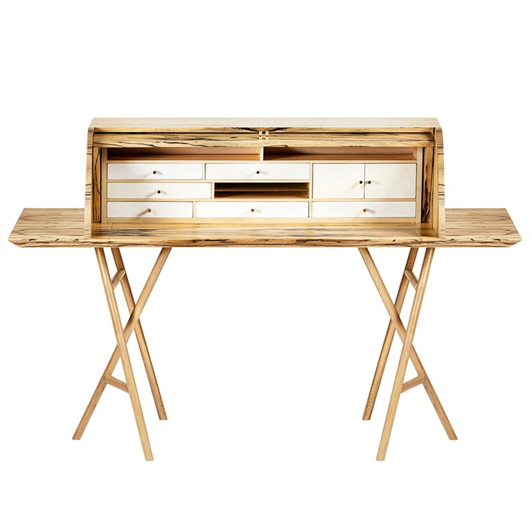 21st Century Charles 10 Desk, White Ebony, White Maple and Brass, Made in Italy For Sale