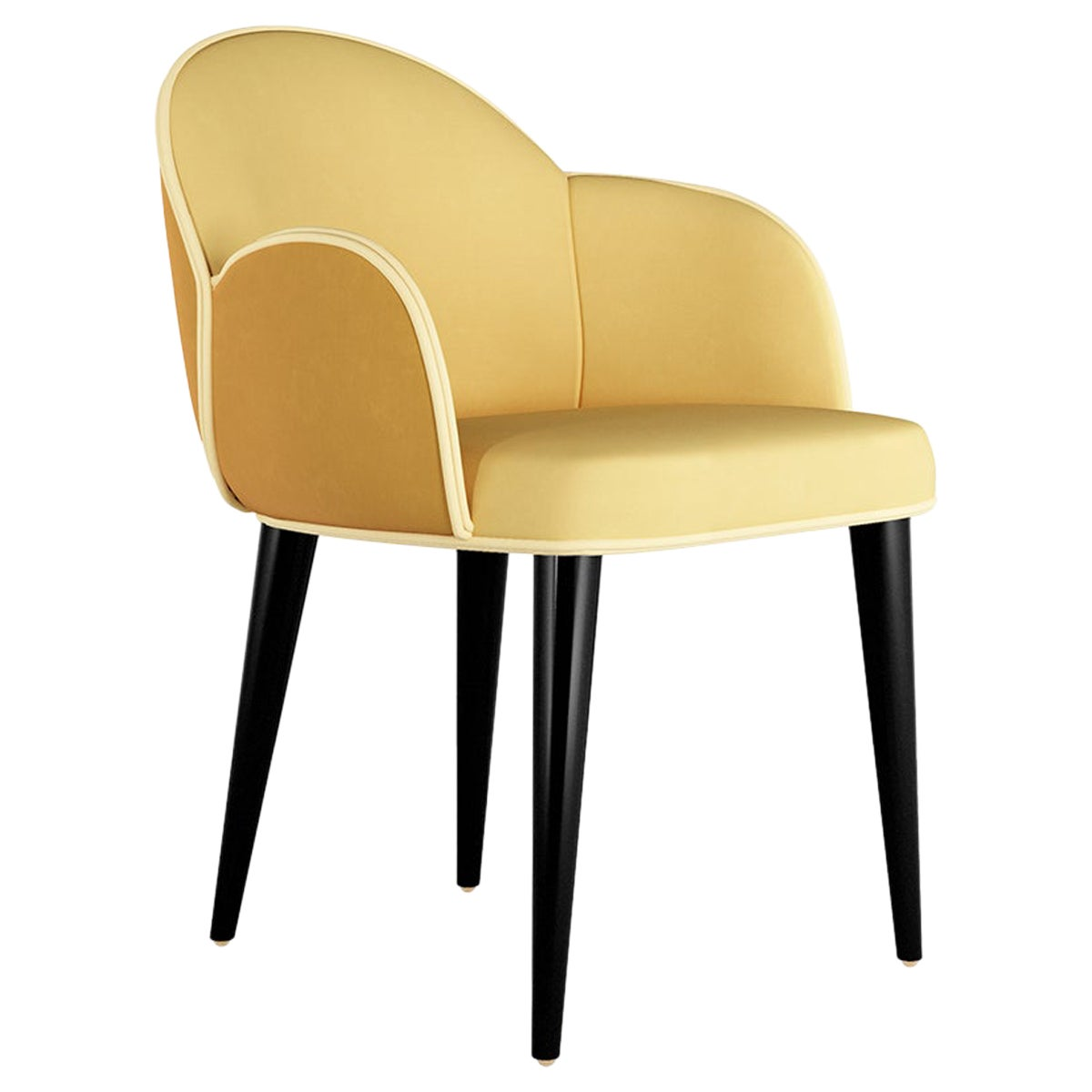 Contemporary Yellow Velvet Dining Chair with Black Legs