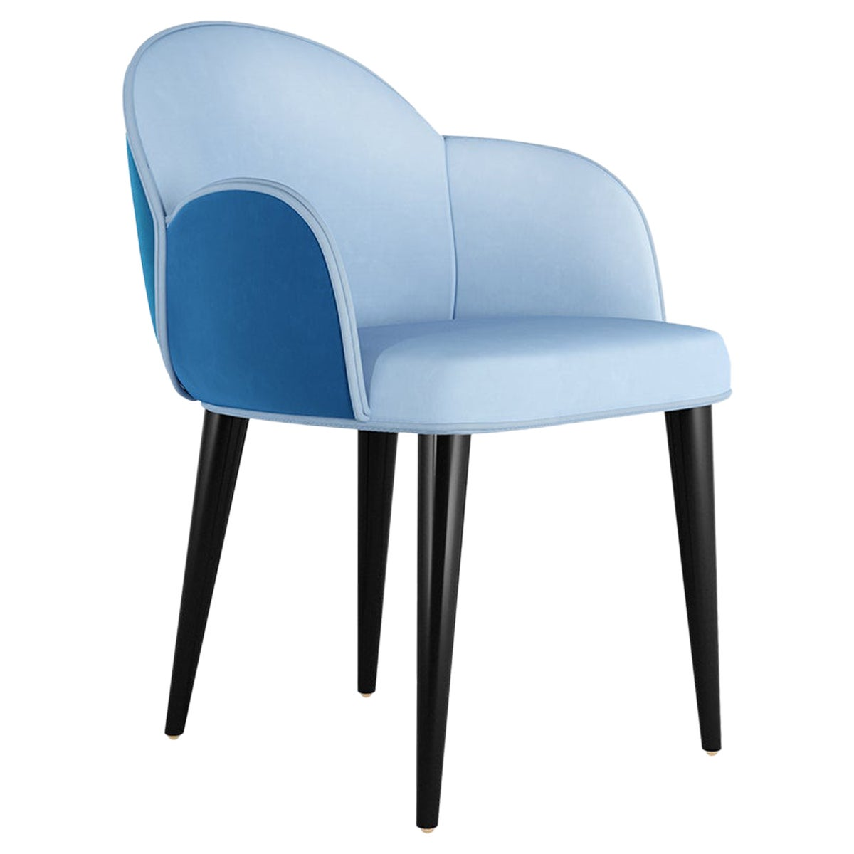 Contemporary Blue Velvet Dining Chair with Black Legs