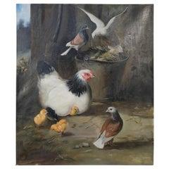 Feeding Fowl Oil Painting on Canvas