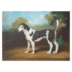 Black and White Dog Portrait Painting on Wood