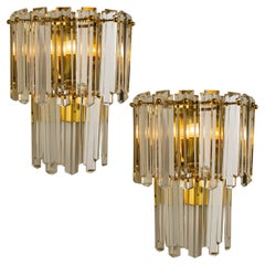 Pair of  Large J.T. Kalmar Faceted Glass and Gilt Brass Sconces, Vienna, 1960s