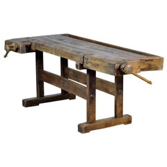 Antique Carpenters Oak Workbench, Circa 1910