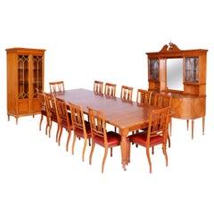 19th Century Original British Dinning Room Set with 12 Chairs, Satin Wood