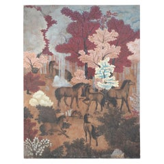 Horses in Autumn Forest Painting on Wood