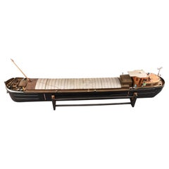 Rare Large Barge Model, in Wood and Composite Material circa 1960