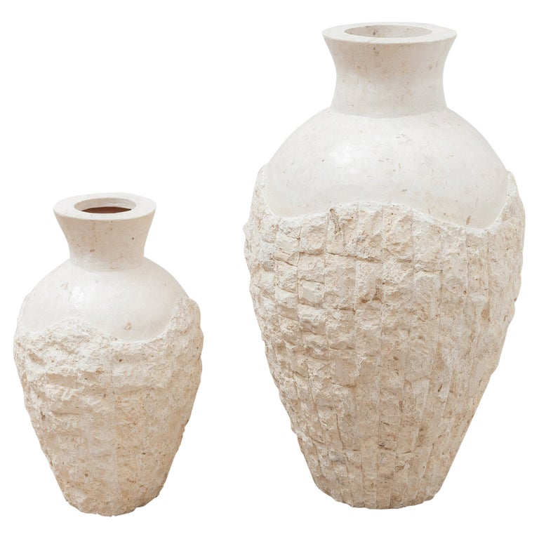Set of Two Mactan Stone Large Floor Vases, 1980s For Sale