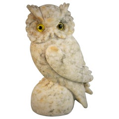 Italian Hand Carved Alabaster Owl Sculpture with Glass Eyes