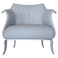 Amphora Armchair upholstered in Grey Italian Leather with Silver Metal Base