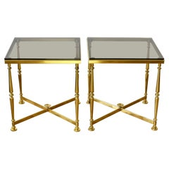 Mid Century Vintage Pair of Solid Cast Brass Side / End Tables, circa 1970s