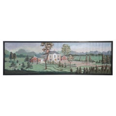 Framed Panoramic Landscape and Manor House Painting