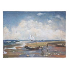 Fishermen and Sailboats Seascape Oil Painting on Canvas