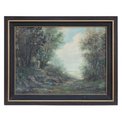 Framed Oil Landscape Painting of a Forest Path and Distant Mountains