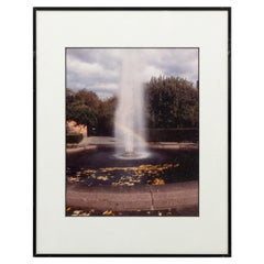 Vintage Color Photograph of Fountain in a Park with Rainbow