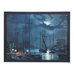 Framed Mid-Century Seascape Oil Painting of Ships Coming in to Dock at Night