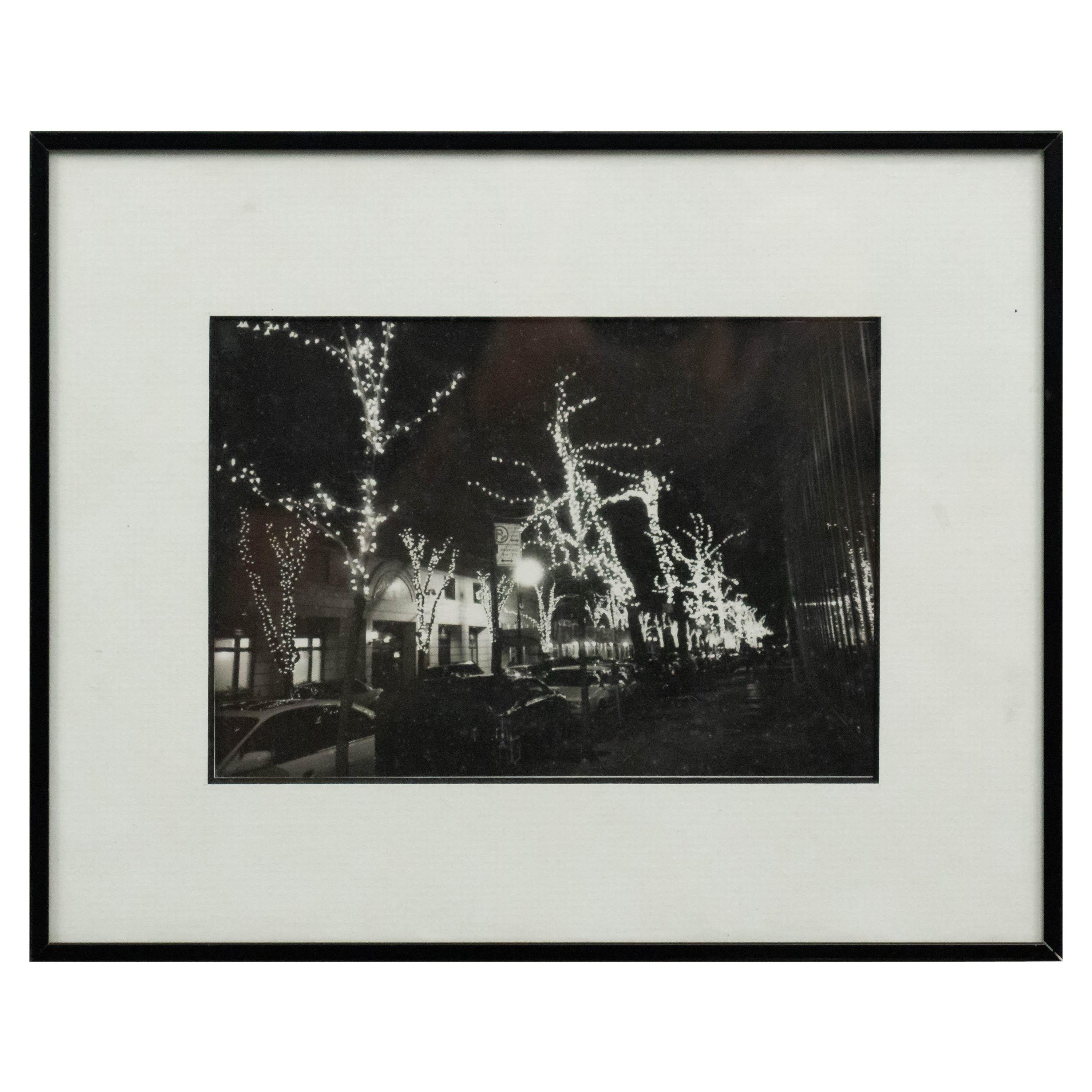 Black and White Photograph of Street Scene