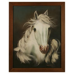 White Stallion Equestrian Oil Painting by Jenkins