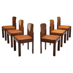 Silvio Coppola for Bernini Set of 6 Dining Chairs in Cognac Leather