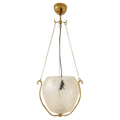 Swedish Art Deco Pendent Brass and Glass, 1940s