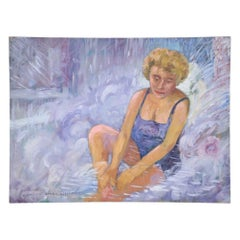 Woman in Bathing Suit Painting on Canvas
