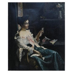 Vintage Victorian Woman at Desk Oil Painting on Canvas