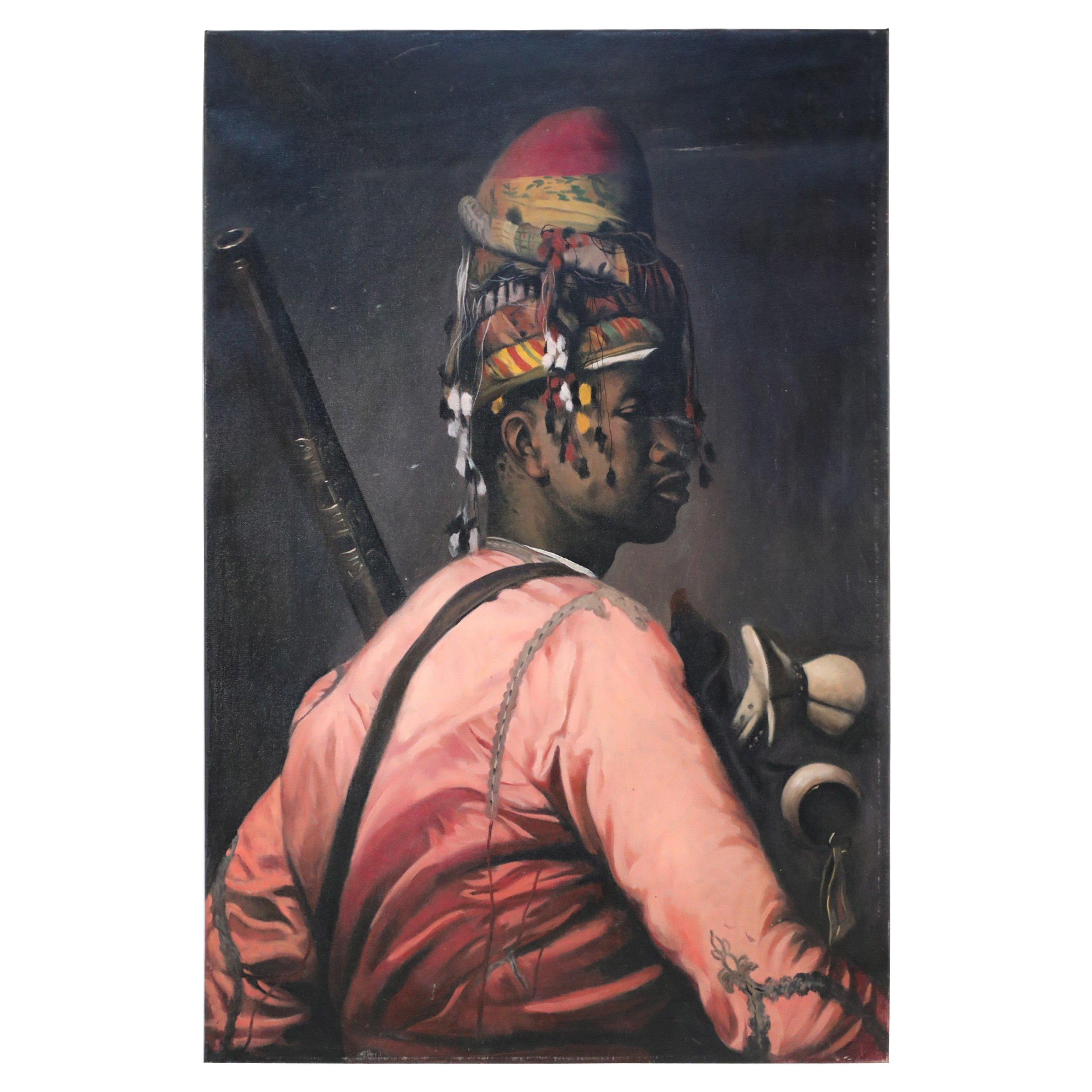 Portrait of a Man in a Headwrap Painting on Canvas
