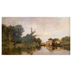 "Daubigny Karl '1846-1886' ""The artist's boat workshop"" Panel"