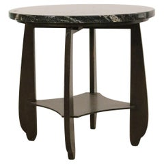American Art Deco Style Round Marble and Lacquered Wood End Table