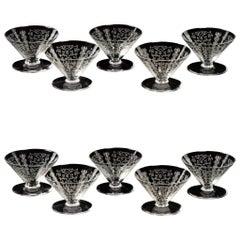 1920 Baccarat 10 Lido Crystal Champagne Glasses
