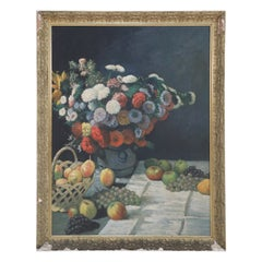 Framed Still Life Oil Painting of a Flower Arrangement and Scattered Grapes and
