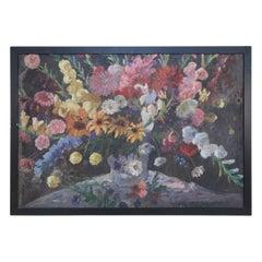 Framed Oil Still Life of an Abundant Wildflower Bouquet