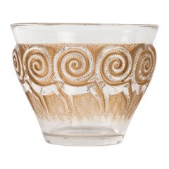 1933 René Lalique Rennes Vase in Clear and Frosted Glass with Sepia Patina