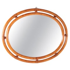 Beautiful Vintage Oval Bamboo Mirror, 1960s