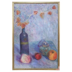 Framed Oil Still Life Painting of a Wine Bottle With Flowers and Fruit