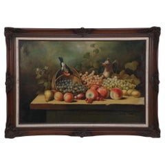 Framed Still Life Oil Painting of a Bounty of Grapes and Fruit with a Perching R