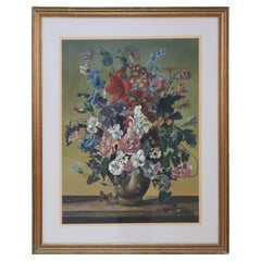 Framed Still Life Painting of a Variety of Wildflowers in a Brown Vase with Inse