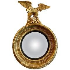 Antique English Regency Gilt Convex Mirror