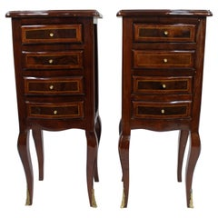 Pair of Four Drawer Inlaid French Nightstands