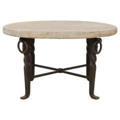 1950s Belgian Iron Table with Wooden Top