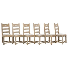 1960s Belgian Bleached Oak Dining Chairs, Set of Six